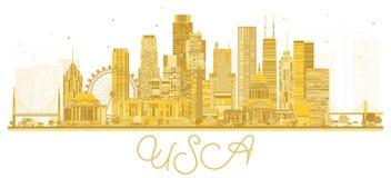 美国城市与金黄摩天大楼和地标的地平线剪影 图库摄影