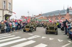 美国士兵的历史重建波兰美国独立日100th周年的  免版税图库摄影