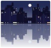 美国夜城市背景 向量例证