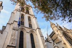 美国大教堂的门面的建筑细节 免版税库存照片