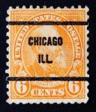 美国大约 清楚的克利夫兰日加菲尔德・詹姆斯纪念俄亥俄冬天 加菲尔德 6分 免版税库存图片