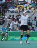 美国奥林匹克冠军Bethanie Mattek沙子在里约的混双决赛以后庆祝胜利2016奥林匹克 库存图片