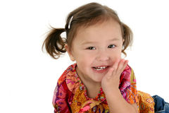 美国女孩日本笑的小孩 免版税库存图片