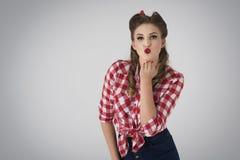美国女孩针射击工作室样式 免版税库存图片