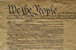 美国宪法的特写镜头 库存图片