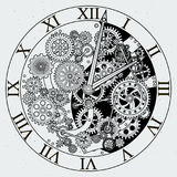 美国工厂北部多伦多 与钝齿轮的时钟机制 下载例证图象准备好的向量 皇族释放例证