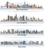 美国市地平线的传染媒介汇集:旧金山、洛杉矶、圣地亚哥和圣何塞 向量例证
