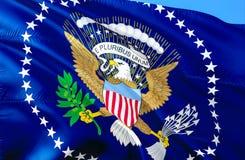 美国总统旗子 3D挥动的旗子设计 美国的国家标志,3D翻译 美国National总统 免版税图库摄影