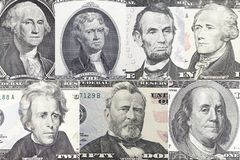 美国总统设置了在美金的画象 免版税库存图片