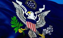 美国总统(1902-1916)旗子 3D挥动的旗子设计 美国的国家标志,3D翻译 美国3D挥动的标志 库存图片