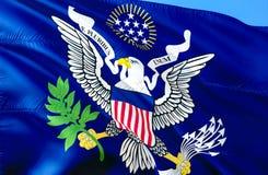美国总统(1902-1916)旗子 3D挥动的旗子设计 美国的国家标志,3D翻译 美国总统 免版税库存图片