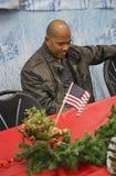 美国战士的圣诞晚餐在受伤的战士中心,彭德尔顿营,在圣地亚哥北部,加利福尼亚,美国 图库摄影