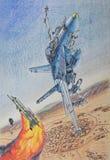 美国战斗机有与伊拉克战斗机的一次战斗 库存照片