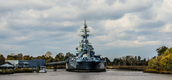 美国战舰北卡罗来纳 免版税库存照片