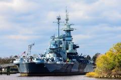 美国战舰北卡罗来纳 图库摄影