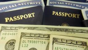 美国护照和货币与社会保险卡-旅行文件旅游业概念 股票视频