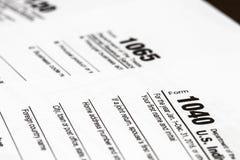 1040,1120,1065美国报税表/征税概念 免版税库存图片