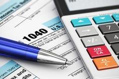 1040美国报税表 皇族释放例证