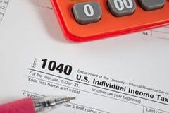 美国报税表1040 图库摄影