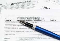 美国报税表1040ez年2012年 免版税库存图片