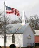 美国教会标志前面 免版税库存照片