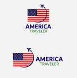 美国旗子与平面旅行的传染媒介例证 免版税库存图片