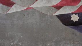 美国旗子云彩和星在混凝土 免版税库存图片
