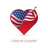 美国旗子在心脏 爱我的国家 标志 也corel凹道例证向量 库存例证
