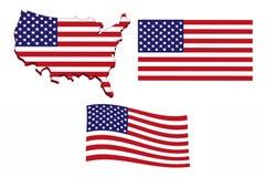 美国旗子地图 免版税库存照片