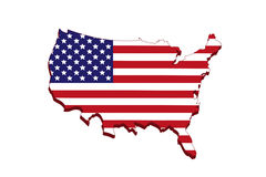 美国旗子地图 免版税图库摄影