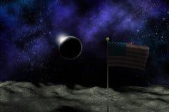 美国旗子月亮地球空间 免版税库存照片