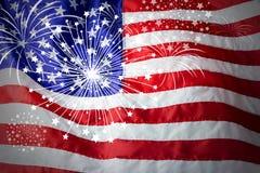 美国旗子有烟花背景 免版税库存照片