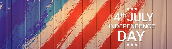美国旗子木纹理美国独立日假日7月4日横幅 免版税库存图片
