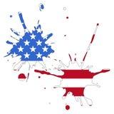 美国旗子由五颜六色制成飞溅 向量 免版税库存图片