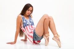 美国旗子的顶面颜色的,牛仔裤芭蕾舞女演员 免版税库存图片
