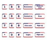 美国旗子网按钮 免版税库存照片