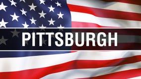 美国旗子背景的匹兹堡市,3D翻译 美国沙文主义情绪在风 骄傲的美国国旗 库存例证