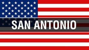 美国旗子背景的圣安东尼奥市,3D翻译 美国沙文主义情绪在风 骄傲的美国国旗 皇族释放例证