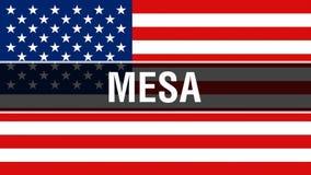 美国旗子背景的Mesa城市,3D翻译 美国沙文主义情绪在风 骄傲美国沙文主义情绪,美国 库存例证
