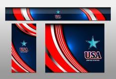 美国旗子颜色横幅背景 免版税库存照片