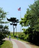 美国旗子飞行在堡垒梅肯 免版税库存图片