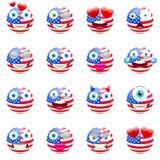 美国旗子Emojis 爱国Emoji集合 库存照片
