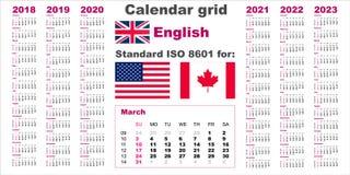 美国日历标准美国 2018 2019 2020 2021 2022 2023个星期开始的,美国在星期天,英语语言样式 库存例证