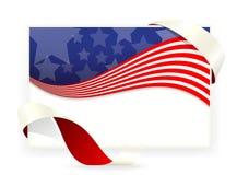 美国星旗子,与丝带的名片 免版税图库摄影