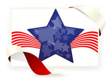 美国星旗子,与丝带的名片 库存照片