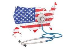美国映射与听诊器,全国医疗保健概念, 3D rende 库存图片