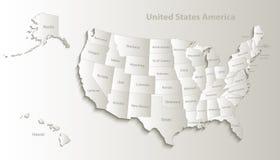 美国映射与自然阿拉斯加和夏威夷地图分开的单独卡片的纸3D 库存例证