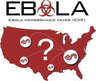 美国映射与ebola文本、生物危害品标志和问号 图库摄影