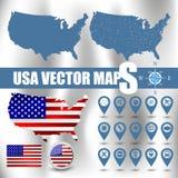 美国映射与gps和旗子象的集合 免版税库存图片
