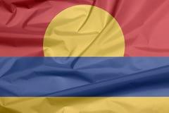 美国本土外小岛屿背景织品旗子  免版税图库摄影